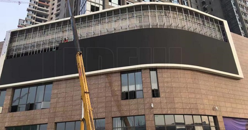Wall Mounted Curved LED Display Installation