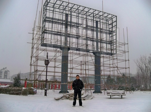LED Display Structure Frame with Double Pillar Stand in Heavy Snow with Minus 30 Celsius Degrees