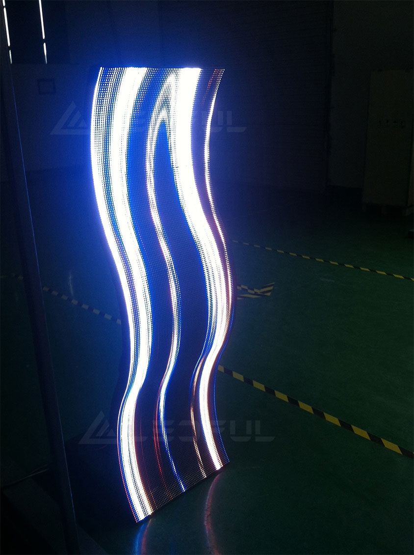 S shaped LED display with FLEX LED modules