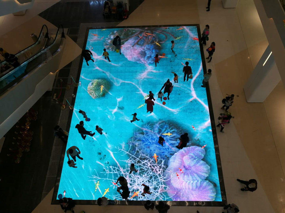 Floor Interactive LED display in Shopping Mall